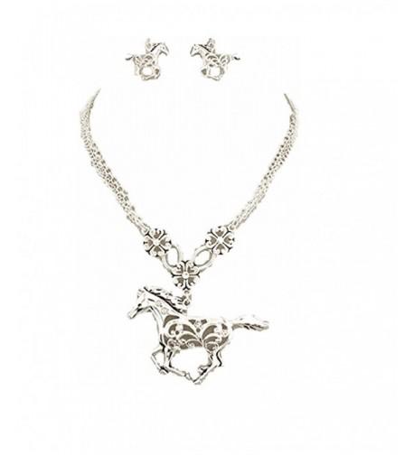 Western Cowgirl Rhinestone Necklace Earrings