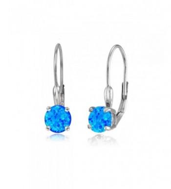 Sterling Silver Created Leverback Earrings