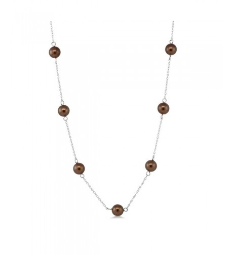Cognac Silver Mother Pearl Necklace