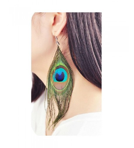 Baishitop Peacock Feather Silvery Earrings