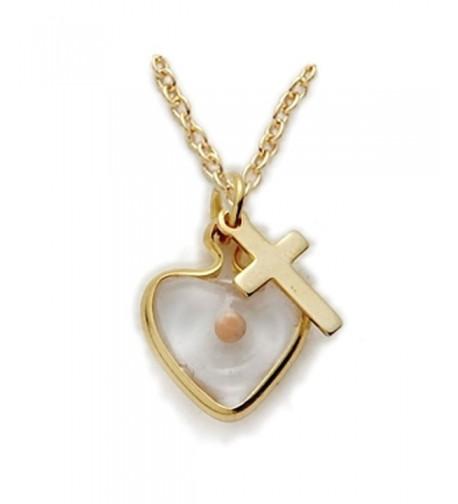 Filled Mustard Heart Necklace Cross