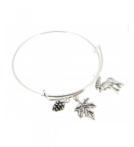 Bangle Bracelet Expandable leaf Moose