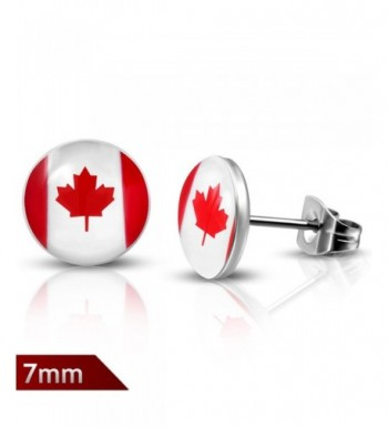 Stainless Steel Canada Circle Earrings