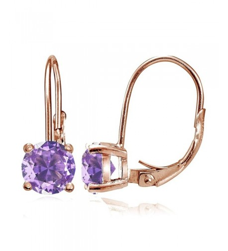 Sterling Simulated Amethyst Leverback Earrings