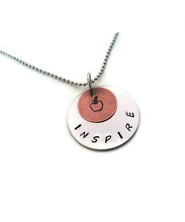 Teachers Necklace Hand Stamped Inspire