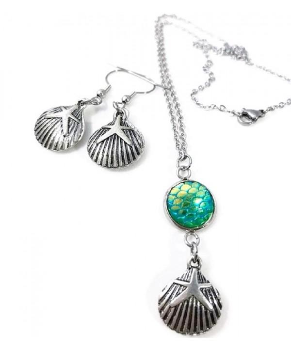 Seashell Mermaid Necklace Dangle Earrings
