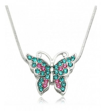 Silver Crystal Butterfly Pendant Necklace