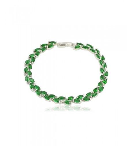 Olive Leaf Green Crystal Bracelet