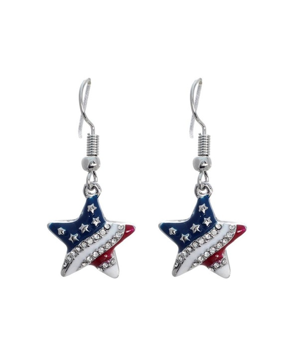 Patriotic Rhinestone Crystal American Earrings