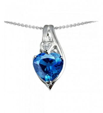 Star Simulated Pendant Necklace Sterling