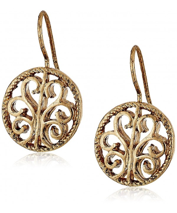 1928 Jewelry Gold Tone Round Earrings