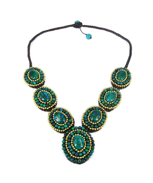 Circles Reconstructed Malachite Brass Statement Necklace