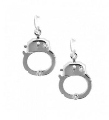 Spinningdaisy Silver Functional Handcuff Earrings