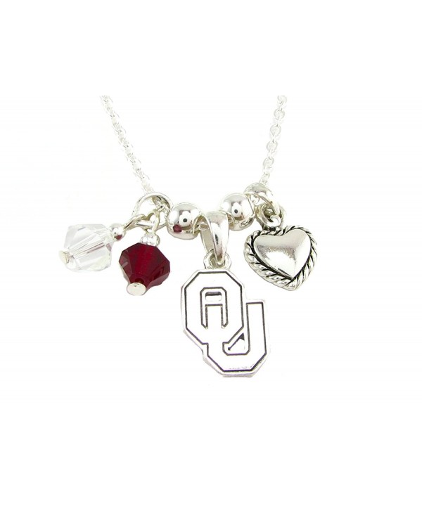 oklahoma sooners red clear austrian crystal heart logo