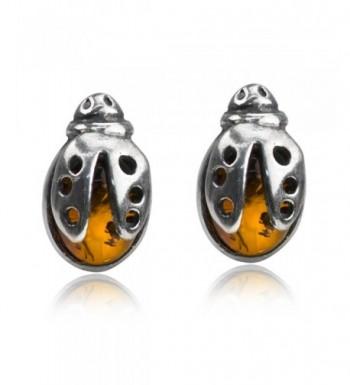 Sterling Silver Amber Ladybugs Earrings