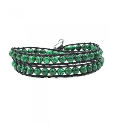 Handmade Leather Bracelet Adjustable Malachite