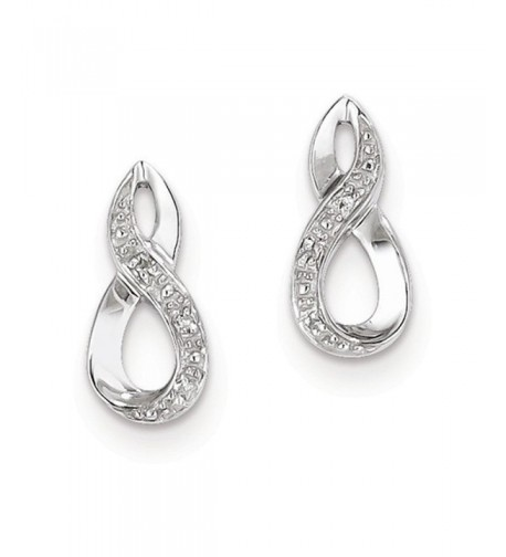 Sterling Rhodium Diamond Post Earrings
