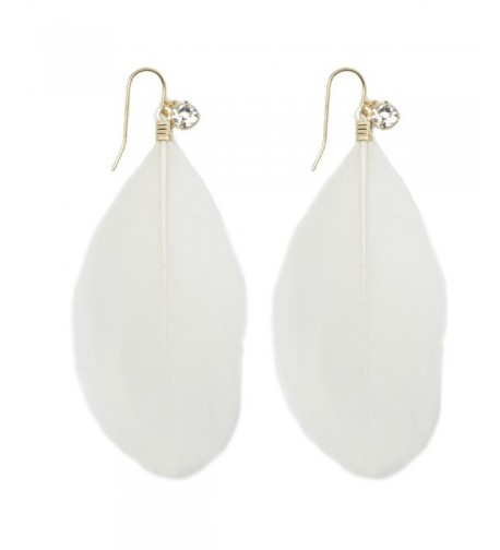 Womens Natural Feather Earrings White