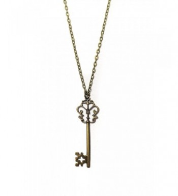 Brass Filigree Skeleton Pendant Necklace