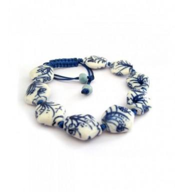 Vintage Porcelain Butterfly Adjustable Bracelet