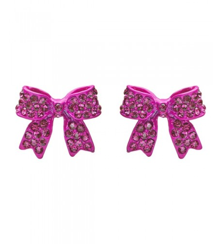 Fashion Crystal Ribbon Earrings Fuschia