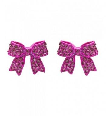 Fashion Crystal Ribbon Earrings Fuschia