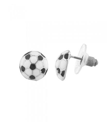 Lux Accessories Silvertone Soccer Earrings