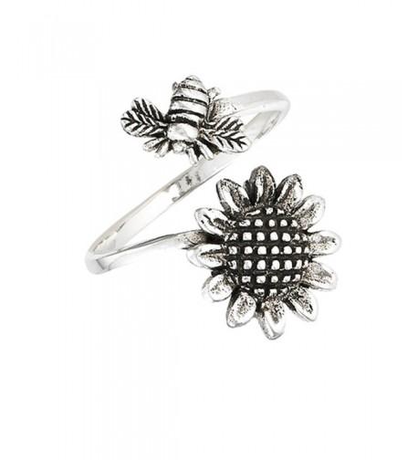 Adjustable Sunflower Flower Sterling Silver