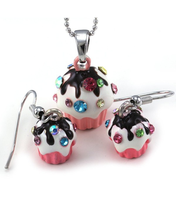 Chocolate Frosting Birthday Necklace Earrings
