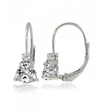 Sterling Zirconia Trillion Cut Leverback Earrings