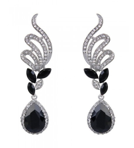 BriLove Elegant Teardrop Earrings Silver Tone