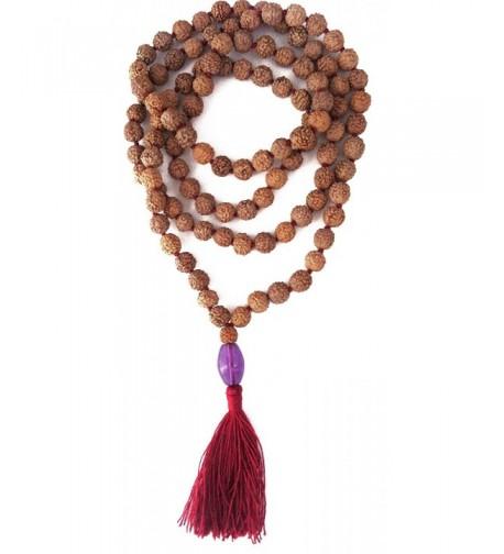 Rudraksha Amethyst Pendant Prayer Bead