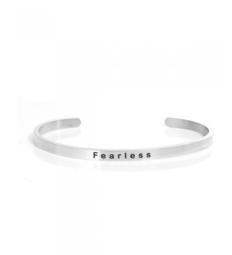 Stainless Fearless Positive Quotes Bracelet