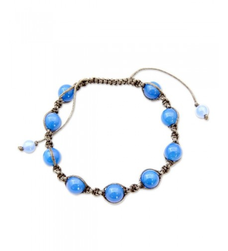NOVICA Chalcedony Cotton Bracelet Harmony