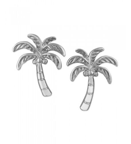 Rhodium Sterling Silver Coconut Earrings