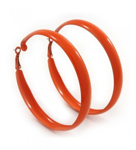 Large Orange Enamel Hoop Earrings