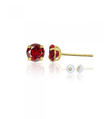 Yellow Gold 6 00mm Garnet Earring