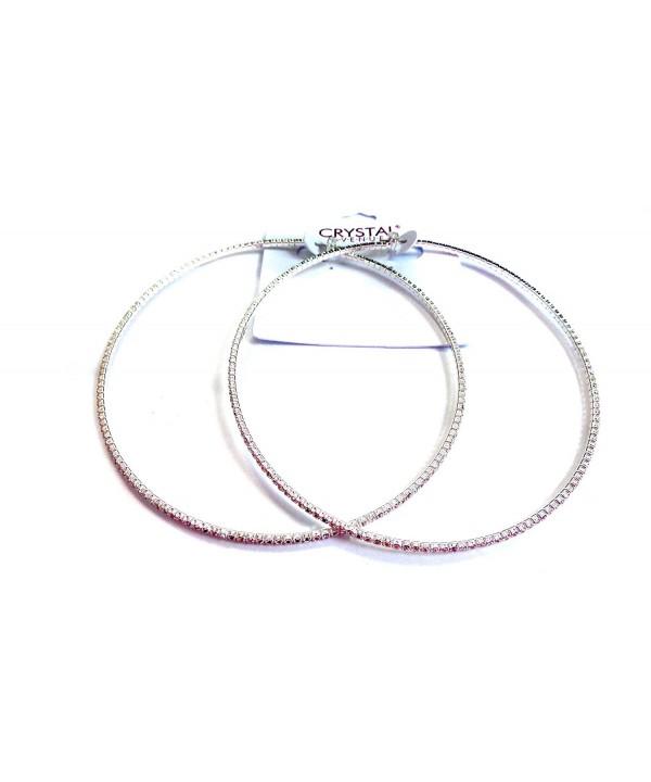 Large 4 Inch Hoop Earrings Thin Rhinestone Hoop Earrings Silver Or