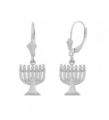 Polished Sterling Jewish Leverback Earrings