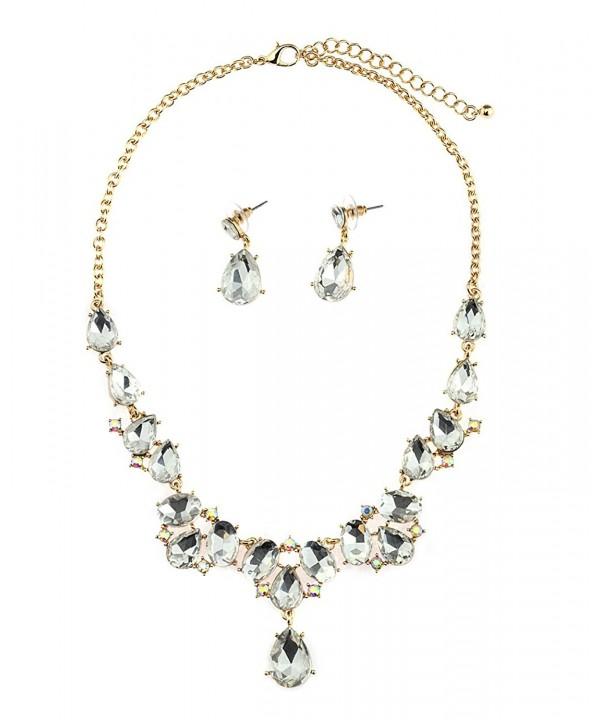 Teardrop Necklace Dangling Earrings Gold Tone