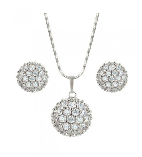 EleQueen Silver tone Zirconia Necklace Earrings