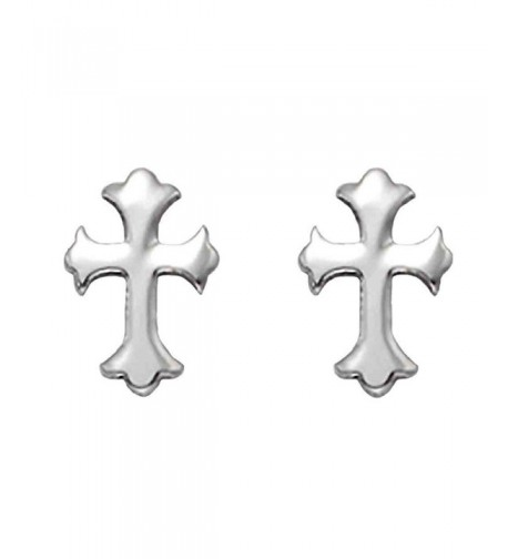 Stainless Steel Florentine Cross Earrings