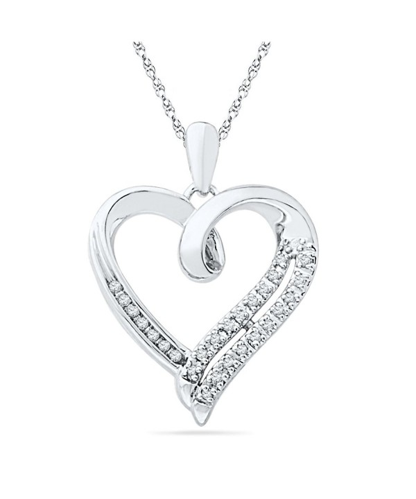 Sterling Silver Round Diamond Pendant