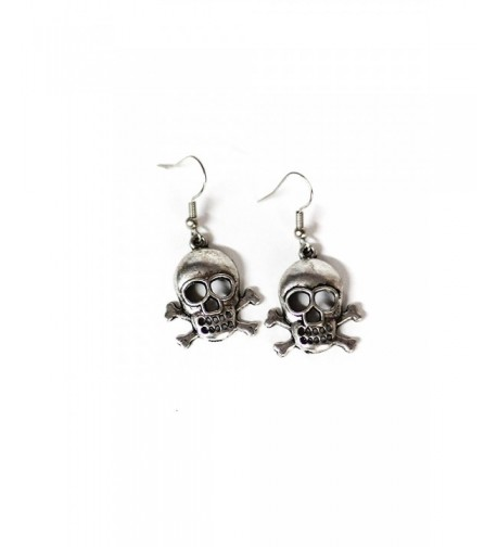 Large Crossbones Silver Dangle Earrings