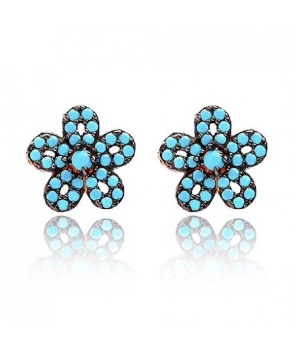 46591975a Stud Earrings Turquoise Flower Rose Gold Plated Mother's Day Gift ...