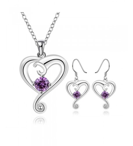 Sterling Necklace Earrings Girlfriend Amethyst