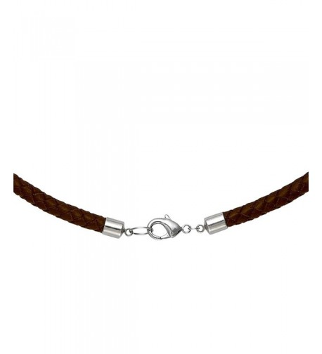 Brown Braided Leather Necklace Choker