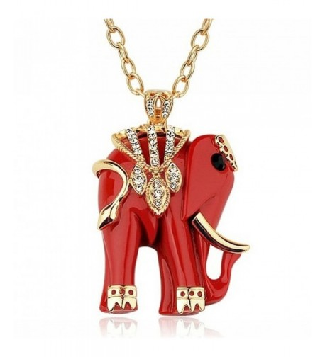 Comming Crystal Elephant Pendant Necklace