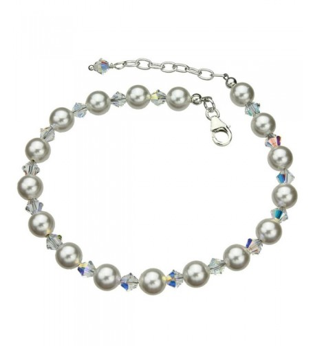 Sterling Bracelet Simulated Swarovski Crystals