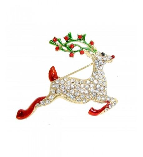 TTjewelry Christmas Gold tone Rhinestone Crystal